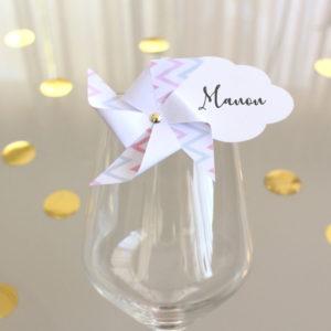 Marque-verre Marque-place Moulin à vent et Nuage scandinave bicolore clair
