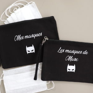 Pochette à masques noire personnalisable