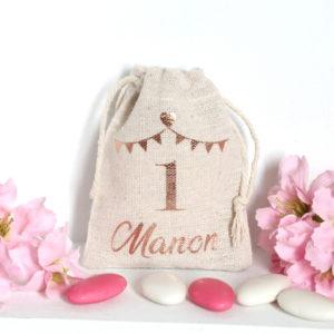 Pochon personnalisé fanions pour 1er anniversaire Cadeaux invités