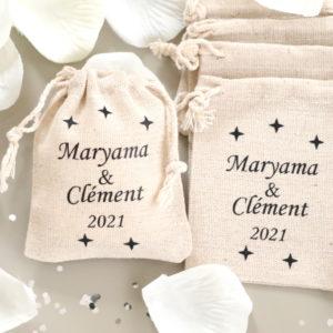 Pochons personnalisés étoiles pour dragées ou cadeaux d'invités mariage