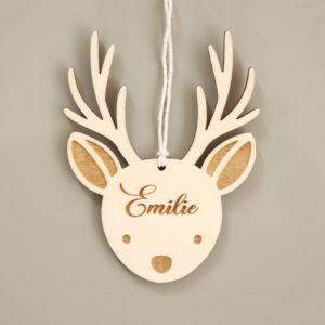 Suspension de Noël tête de renne en bois avec prénom