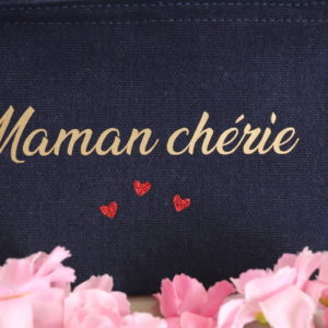 Trousse pochette marine cœurs rouges personnalisable