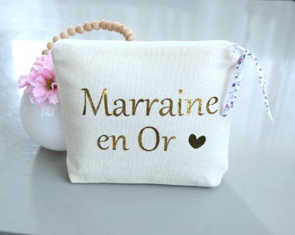 """Trousse Pochette """"Marraine en Or"""" cœur et Liberty personnalisable"""