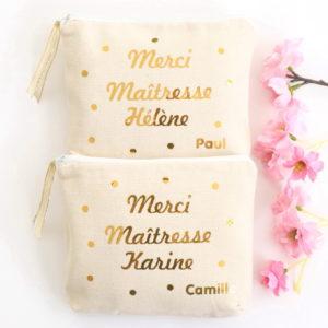 Trousses confettis Merci maîtresse or brillant