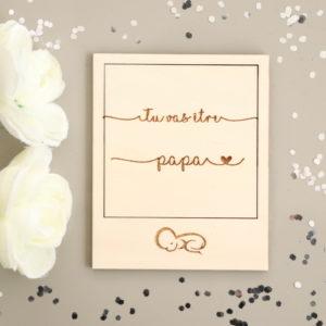 Carte polaroid en bois annonce grossesse bébé personnalisée