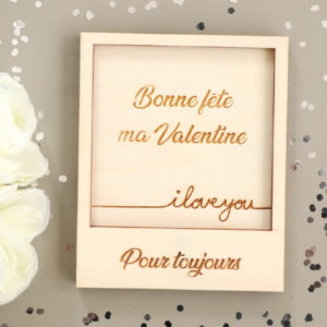 Carte polaroid en bois I love you à personnaliser