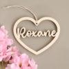 suspension Coeur prénom en bois Roxane
