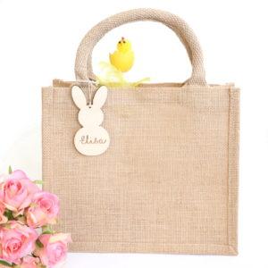 Sac panier de Pâques en jute personnalisé lapin en bois