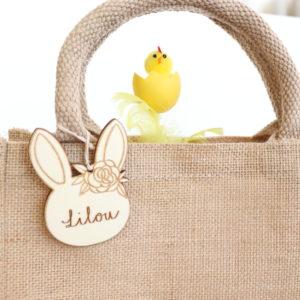 Sac panier de Pâques en jute personnalisé lapin fleurs en bois