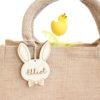 Panier de Pâques jute tête lapin noeud