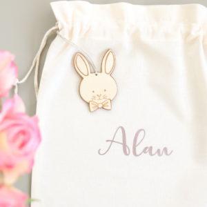 Pochon sac de Pâques personnalisé pour chasse aux œufs