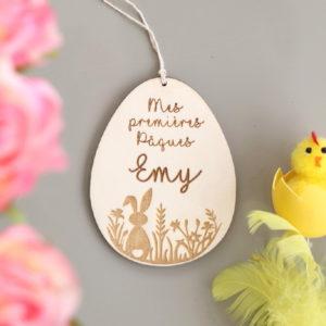 """Suspension œuf de Pâques en bois ''lapin"""" à personnaliser"""