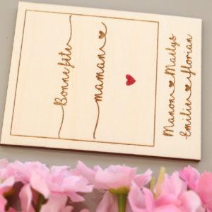 Carte polaroid en bois à personnaliser cœur rouge