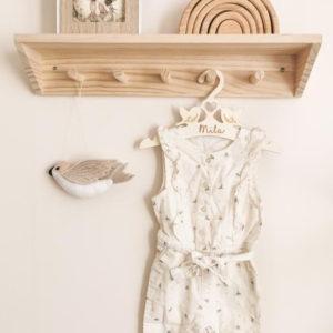 Cintre bébé enfant en bois Oiseaux personnalisé