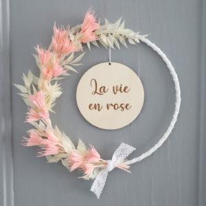 """Couronne de fleurs séchées """"Célia"""" avec Médaillon en bois à personnaliser"""