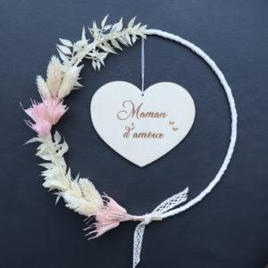 """Couronne de fleurs séchées """"Manon"""" avec Suspension en bois"""