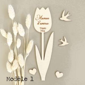 Fleurs tulipe en bois personnalisées