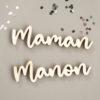 Marque place prénom en bois pour mariage, anniversaire, baptême
