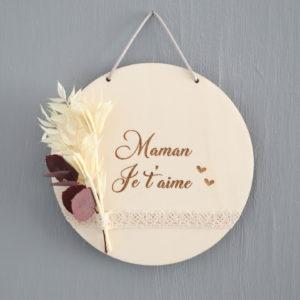"""Suspension médaillon bouquet de fleurs séchées à personnaliser Modèle """"Emilie"""""""