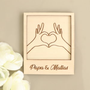 Carte polaroid Mains en coeur Papa