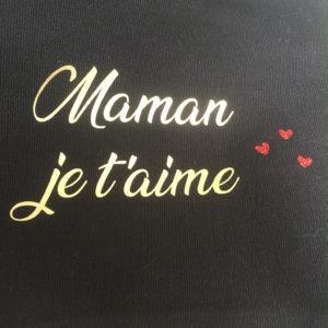"""Pochette trousse noire dragonne """"Maman je t'aime"""""""