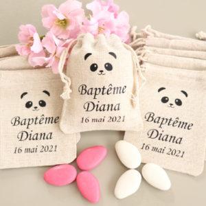 Pochons personnalisés Panda pour dragées baptême communion