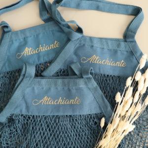 Sac filet en coton bio personnalisable bleu ou rouille