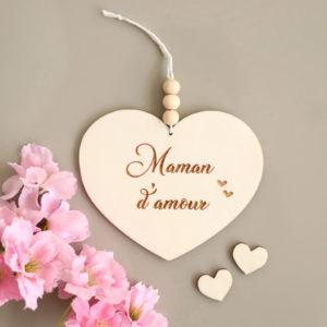 Suspension cœur en bois et perles gravure personnalisable