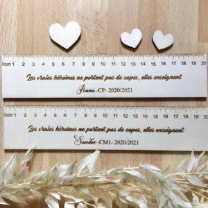 Règle en bois personnalisable Cadeau maîtresse maître de fin d'année