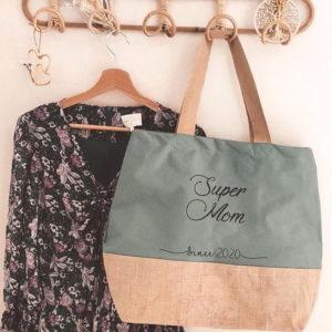 Grand sac fourre-tout en coton et toile de jute naturel, avec fond.