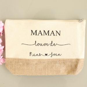 """Grande Trousse de toilette """"Maman"""" écrue toile de jute personnalisable"""