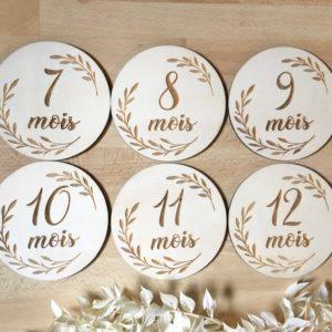 """Cartes étapes bébé en bois x6 recto verso (1 à 12 mois) """"Couronne feuilles"""""""