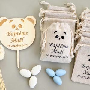 Cake topper en bois Panda personnalisable