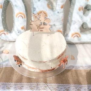 """Cake topper en bois thème """"forêt"""" personnalisable"""