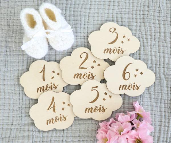 Cartes étapes bébé en bois forme Nuage x6 recto verso (1 à 12 mois)