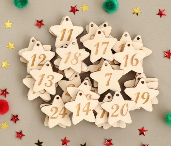 Numéro de l'Avent en bois forme étoiles, étiquettes de Noël x24
