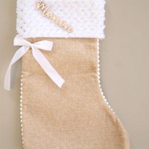Botte chaussette de Noël avec prénom découpé en bois