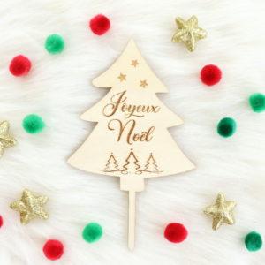 Cake topper en bois Joyeux Noël pour dessert Noël